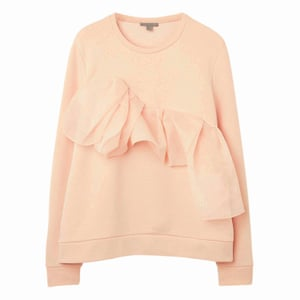 pale pink long sleeved jumper with frill across the front Cos
