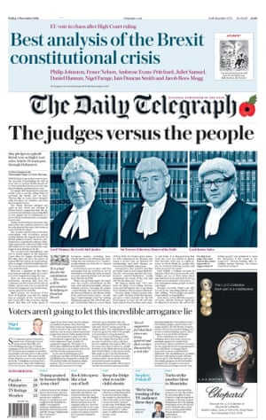 The Daily Telegraph with headline 'The judges versus the people'