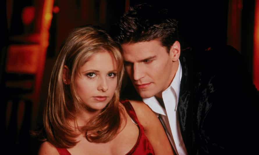 Sarah Michelle Gellar as Buffy and David Boreanaz as Angel, the vampire with a soul