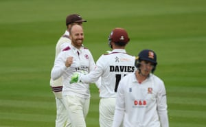 Leach celebrates the wicket of Lawrence.