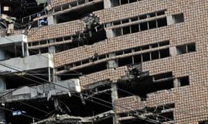 Damaged ministry of defence building in Belgrade
