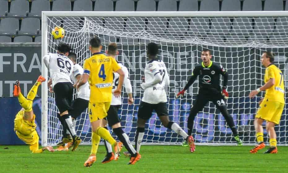 Hellas Verona's midfielder Mattia Zaccagni (left) scores a sumptuous volley during the 1-0 win over Spezi