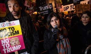 Sayeeda Warsi speaks in 2017 at a protest outside Downing Street against US president Donald Trump's ban on travel from seven Muslim countries.