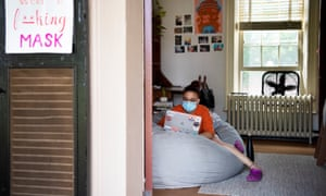 Senior Ashley Grullon works in her dorm room on the campus as in-person classes are underway at the University of Virginia on 8 September.
