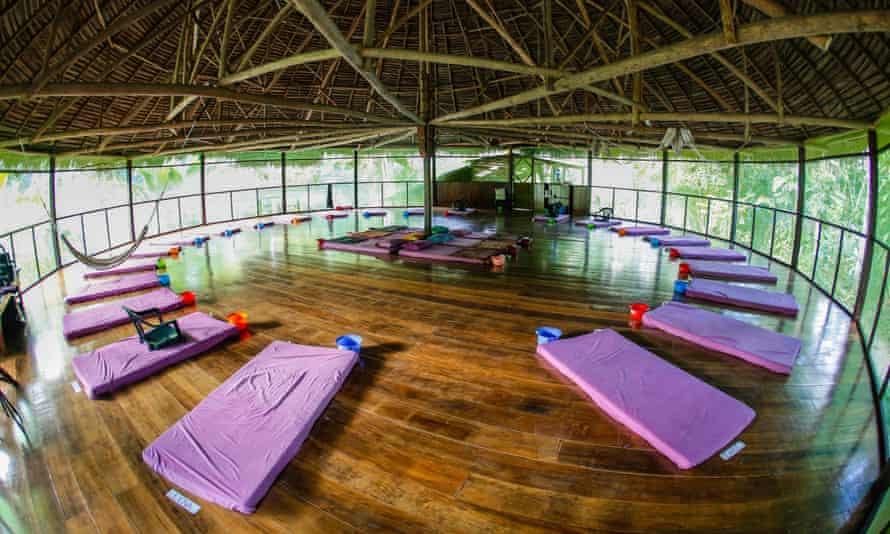 A room is prepared for drinking ayahuasca at the Temple of the Way of Light ayahuasca centre, two hours from Iquitos, Peru