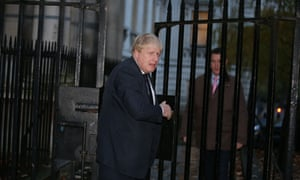 Boris Johnson arriving in Downing Street ahead of this afternoon's meeting of the EU exit and trade (strategy and negotiations) cabinet sub committee.