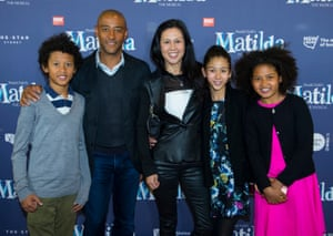 Former rugby union captain George Gregan and his family at Matilda the Musical premiere, Sydney, Australia 20 August 2015