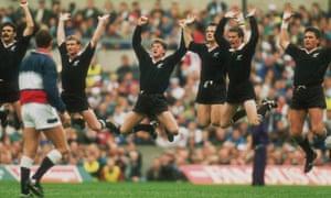 The All Blacks perform the haka against England.