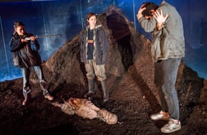 Rochenda Sandall as Anna, Ria Zmitrowicz as Becky and Alec Secareanu as Guy in Gundog by Simon Longman at the Royal Court, directed by Vicky Featherstone.