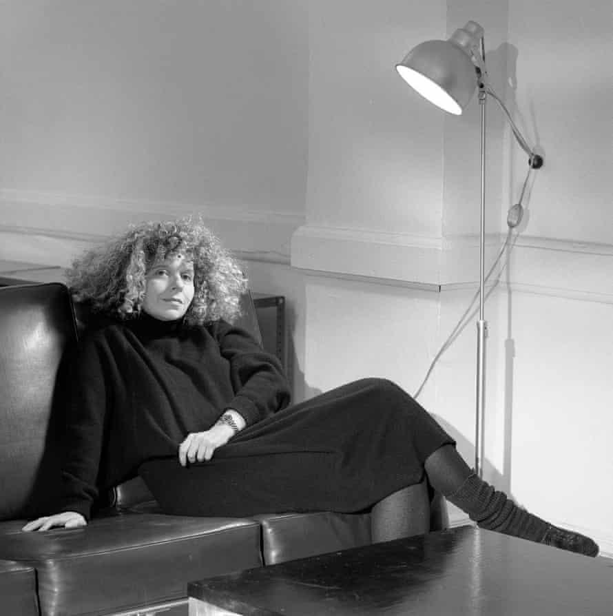 Barbara Kruger in her slouch socks.