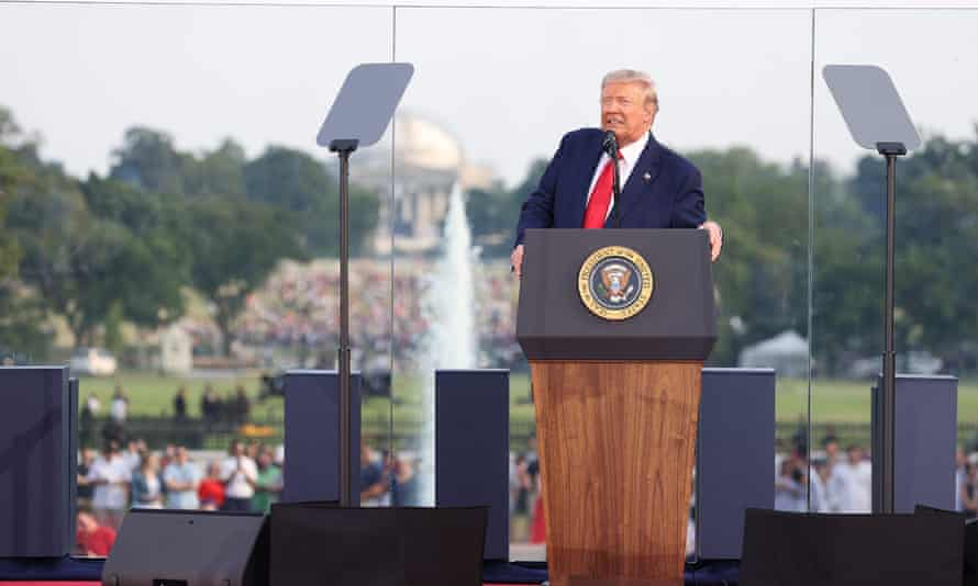 President Donald Trump speaks during an event on the South Lawn of the White House on 4 July.