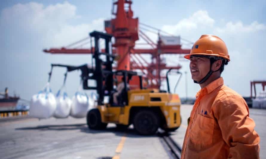 A worker at a port in Zhangjiagang, China