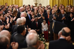 The swearing-in ceremony of Brett Kavanaugh as associate justice of the US supreme court at the White House on 8 October 2018.