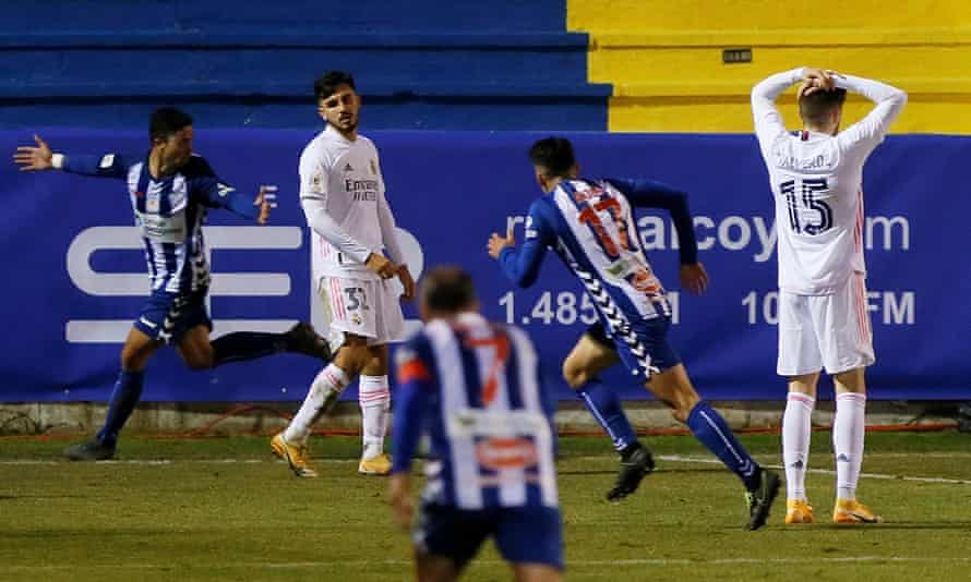 Alcoyano's midfielder Juanan Casanova (left) celebrates scoring the extra-time winner.
