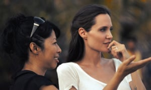Angelina Jolie with Loung Ung on the set of First They Killed My Father.
