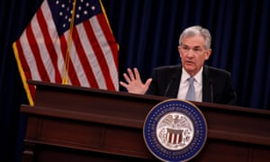 Federal Reserve chairman, Jerome Powell, speaks at a news conference after the Federal Open Market Committee meetings in Washington on Wednesday.