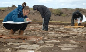 Archaeologists digging at the Ness of Brodgar on Orkney.
