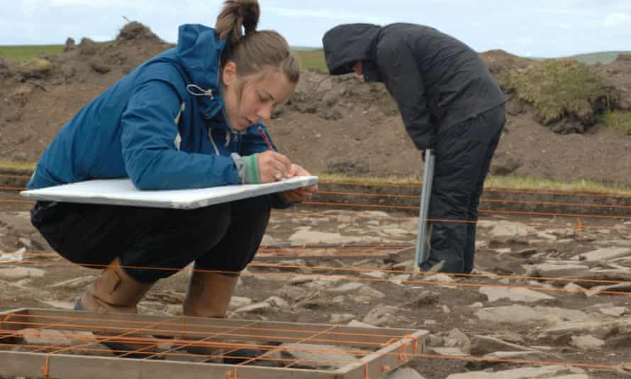 Archaeologists digging at the Ness of Brodgar in Orkney.