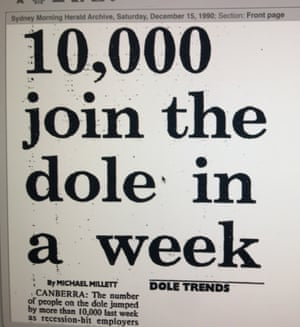 A 1990 headline from the Sydney Morning Herald reading '10,000 join dole queue in a week'