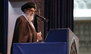 Ayatollah Ali Khamenei gave a sermon before leading a Friday prayer