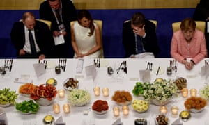 Vladimir Putin, Melania Trump, Mauricio Macri, and Angela Merkel attend a banquet at the 2017 G20 summit in Hamburg. This year's will be in Argentina.