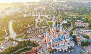 An aerial view of the Enchanted Storybook Castle in Shanghai Disneyland at Shanghai Disney Resort in Pudong, Shanghai, China, 4 June 2019.