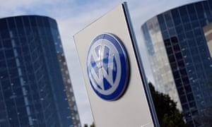 Volkswagen logo in Wolfsburg, Germany
