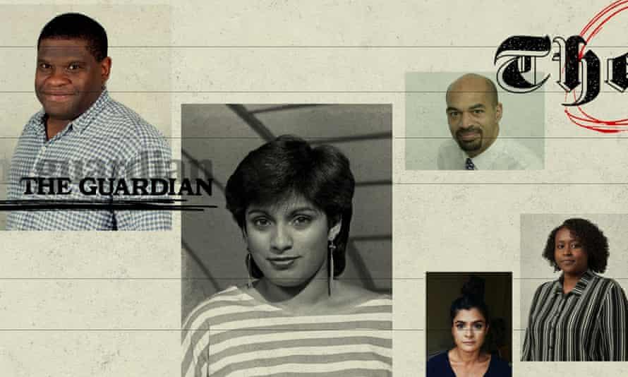 From left: Gary Younge, Shyama Perera, Joseph Harker, Nazia Parveen and Aamna Mohdin.