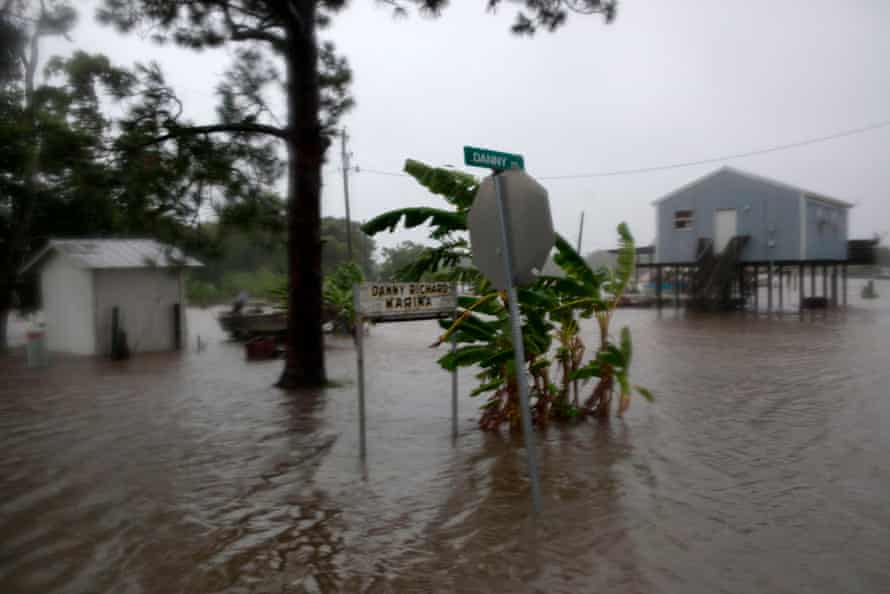 A flooded yard in Intracoastal City in the aftermath of Tropical Storm Barry last year.