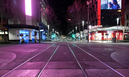 A general view of a deserted Bourke Street.