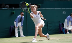 Johanna Konta during her loss to Venus Williams on centre court at Wimbledon.