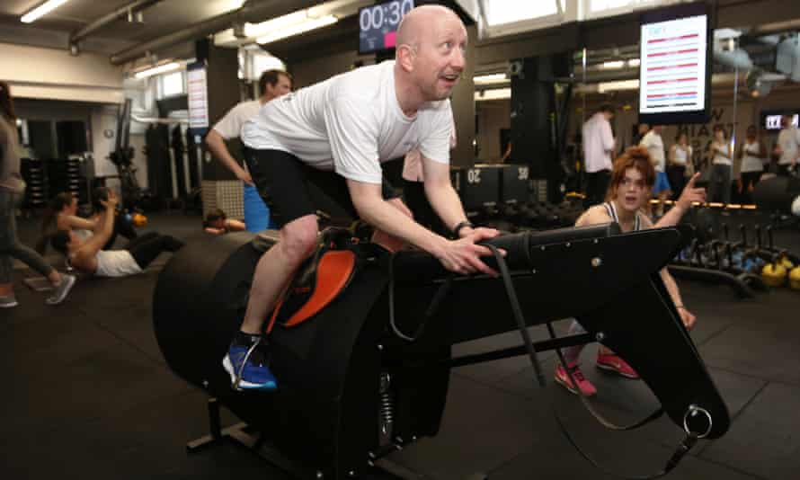 Lizzie Kelly puts Guardian racing correspondent Greg Wood through his paces at a Jockey Fit session