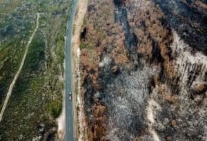 An aerial photo shows burnt bush near Port Macquarie