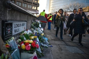 Floral tribute left for Jack Merritt and Saskia Jones, who were killed in a terror attack on 2 December 2019 in London