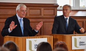 Former prime ministers Sir John Major (left) and Tony Blair sharing a platform for a remain campaign event at the University of Ulster in 2016