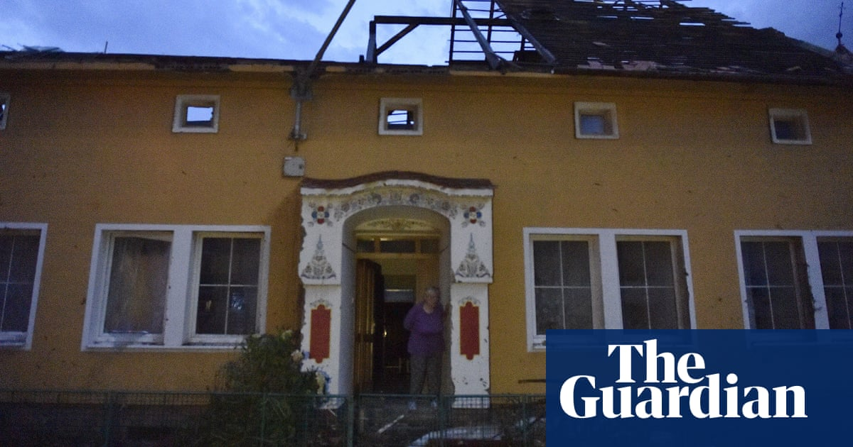 Tornado hits south-east Czech Republic, razing houses and injuring dozens – video