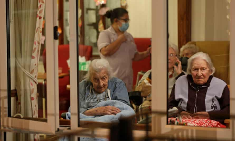 Care home residents in Uxbridge, northern London.