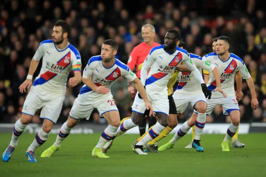 Crystal Palace defenders look on as a free kick is taken during the Premier League match away at Watford in December, the last match in which they kept a clean sheet.