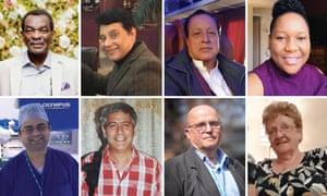Dr Edmond Adedeji, 62, Nazir Awan, 68, Umar Afzal, 71, Elsie Sazuze, 44. Second row; Dr Abdul Mabud Chowdhury, 53, Sohrab Baghri, 63, Fayez Ayache, 76, Maureen Sharp, 74