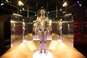 A replica of Maria from Fritz Lang's 1927 silent film, Metropolis. Her face evokes the golden mask of Tutankhamun, discovered five years before her creation, yet she also inspired future robots, including C3PO from the Star Wars series.