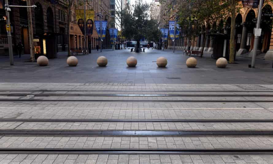 A near empty Martin Place in Sydney