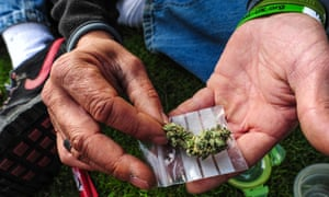 A demonstrator showing cannabis during a protest in front of parliament in London.