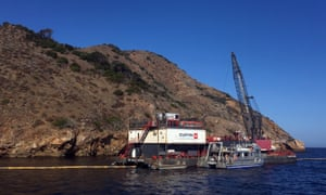 The derrick barge Salta Verde engaged in salvage operations over the wreck of the dive boat Conception at Santa Cruz Island on Friday.