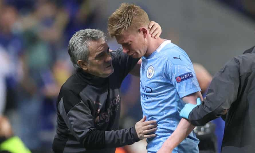 Kevin De Bruyne's night ended with a black eye, substitution and a runner's-up medal following a challenge from Antonio Rüdiger.