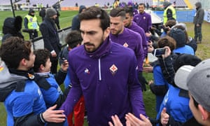 Davide Astori enters the pitch before the Serie A game against Chievo on 25 February.