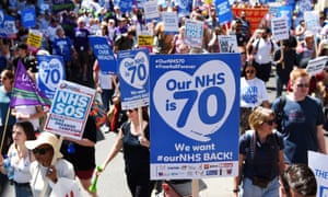 A rally in London this summer marks 70 years of the NHS and calls on the government to increase funding and staffing