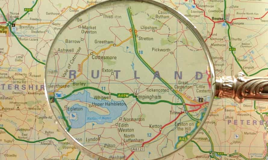 Map showing the county of Rutland, England