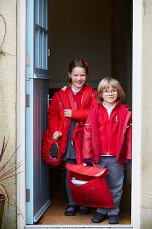 Annie and Sam Molyneux leave home to walk to Emmanuel Holcombe primary school.