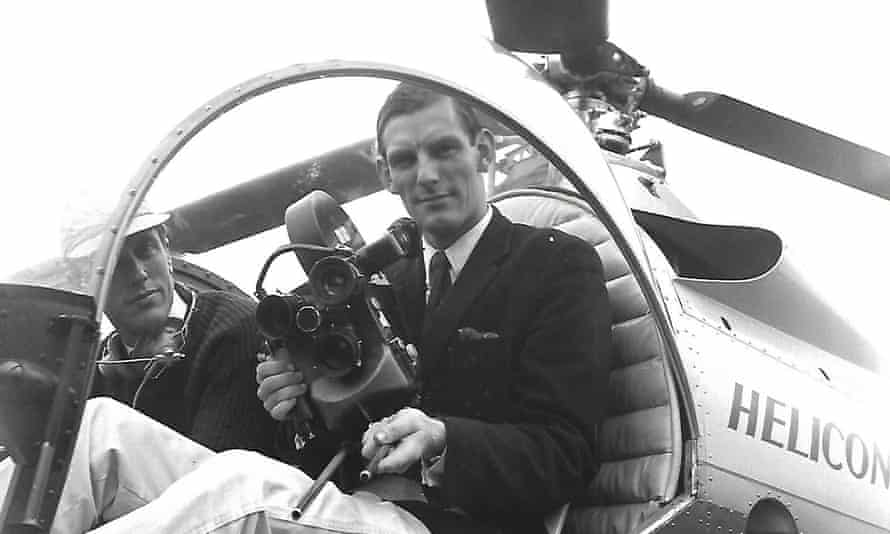 John McGlashan taking aerial shots of Durham Cathedral from a helicopter in 1963