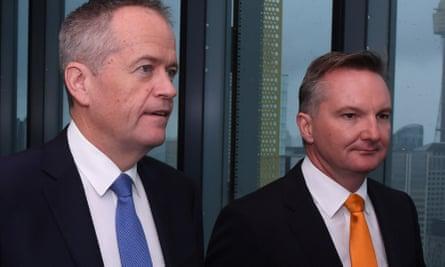 Leader of the Opposition Bill Shorten (left) and Shadow Treasurer Chris Bowen (right)